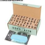 U.S.ステンシルスタンプセット インク付き 42PIECE DIY ステイホーム スタンプ ハンコ アルファベット