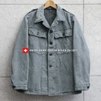 実物 USED スイス軍 後期型 デニムワークジャケット メンズ ミリタリージャケット アウター Gジャン ジージャン コート 厚手 軍服 放出品(クーポン対象外)
