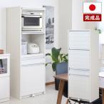 家電収納 レンジ台 目隠し 幅57.5cm 高さ160.5cm 炊飯器収納 スライド棚 ダストボックス付 26.5Lペール付 完成品 日本製 TE-0103