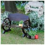 ショッピングカントリー 木製ベンチ 車輪ベンチ 焼き加工 幅110cm ヴィンテージ風ベンチ 屋外用 杉松天然木 WB-1100