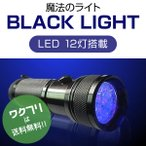 ブラックライト ペンライト ブラックペンライト LED UVライト 懐中電灯 強力 紫外線 科学 汚れ 釣り 蓄光力 絨毯 尿跡 チェック 偽造防止 12灯