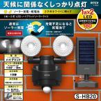 ソーラーライト 屋外 人感センサー センサーライト 防犯灯 ムサシ RITEX 1W×2LED ハイブリッド ソーラーライト(S-HB20) 乾電池 玄関 照明 防犯ライト