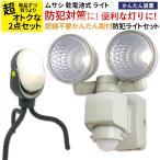 センサーライト2点セット ムサシ E42122WK ASL-097 乾電池式 LED 防犯 防災 懐中電灯 停電 非常時 自動点灯 人感センサー