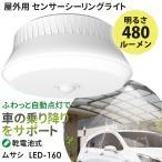 センサーライト 新商品 ムサシ RITEX 屋外用センサーシーリングライト(LED-160) 乾電池式 屋外 人感センサー 玄関 ガレージ 防犯ライト 照明