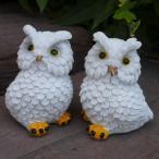 フクロウの置物 ペアふくろう ホワイト 2羽セット 鳥 とり 動物 オーナメント インテリア 雑貨 オブジェ