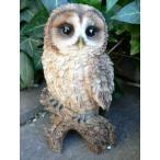 茶フクロウの置物(16.5cm)ふくろう N2245 鳥 とり 動物 オーナメント オブジェ ガーデン ガーデニング 置物 縁起物 雑貨 ナチュラル