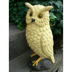 フクロウの置物 黄色ふくろう 29.5cm 縁起物 風水 金運 鳥 とり 動物 オーナメント ガーデニング ガーデン 置物