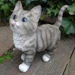 猫の置物 子猫 グレー 9591H キャット ガーデンオブジェ CAT 動物 オーナメント ネコ 雑貨 ガーデン インテリア