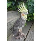 小鳥の置物 オカメインコの置物 特大 N12839 とり オーナメント ガーデン インテリア 雑貨 置物 庭 ガーデンマスコット レジン 陶器