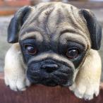 犬の置物 パグ ハンギングドッグ 3704-01 いぬ イヌ 動物 オーナメント ガーデン オブジェ 庭 雑貨 ガーデニング インテリア マスコット