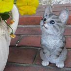 猫の置物 サバトラの子猫 6112H キャット ガーデンオブジェ CAT 動物 オーナメント ネコ 雑貨 ガーデン オブジェ ガーデニング インテリア