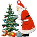 サンタクロースとクリスマスツリー オーナメント