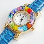 ベネチアンガラス 腕時計 ベルト ブルー 手作り ベネチアングラス