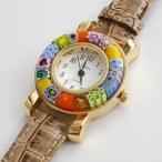 ショッピングイタリア ベネチアンガラス 腕時計 ベルト ベージュ ブラウン 茶 手作り ベネチアングラス