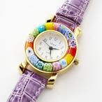 ショッピングイタリア ベネチアンガラス 腕時計 革ベルト パープル イタリア製 ベネチアングラス ウォッチ