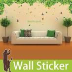 ショッピングウォールステッカー ウォールステッカー 壁 木 木の葉と蝶 2枚セット 貼ってはがせる のりつき 壁紙シール ウォールシール ウォールステッカー本舗