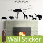 ウォールステッカー 壁 木 アフリカ 動物 モノトーン 貼ってはがせる のりつき 壁紙シール ウォールシール ウォールステッカー本舗