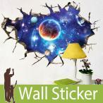 トリックアート ウォールステッカー だまし絵 北欧 トイレ リビング 子供部屋 風景 景色 宇宙 星 惑星 ひび割れ