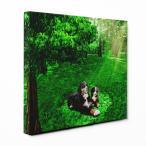 【木漏れ陽】 バーニーズマウンテンドッグ Lサイズ ワンにゃんアートキャンバス Forest series (絵画/アートパネル/犬)