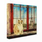 【PARIS】 スコティッシュフォールド Lサイズ ワンにゃんアートキャンバス World tour series (絵画/風景画/猫)