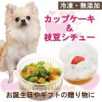 犬用 ケーキとごはん プチカップケーキと枝豆シチューのセット 誕生日 無添加 ギフト ごちそう 誕生日 ごはん 野菜 即日出荷 馬肉 ワンバナ