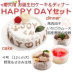 犬用誕生日ケーキ HAPPYDAY ケーキ4号ササミ入りとディナーセット 馬肉団子 イチゴのムース 焼豚,お名前入れも あすつく