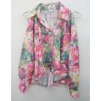 UNIF(ユニフ)ピンク花柄肩あきアシンメトリーオーバーサイズシャツ#XS