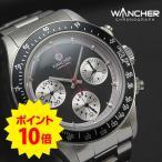 ポイント10倍対象商品 期間限定 ワンチャー WANCHER(ワンチャー) 手巻き機械式3つ目クロノグラフ 腕時計/ブラック(黒)エキゾチックダイヤル