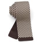 ニットタイ ネクタイ スクエアエンド 5.5cm幅 洗濯可能  チェス チェック チェッカー 柄 市松 模様 WANDM