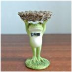 小物を置ける篭を持ったカエル カエル グッズ 蛙 カエル 置物 かえる カエル 雑貨 縁起物 置物 カエル ポーズ アジアン雑貨