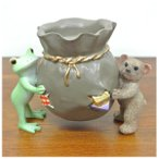 (カエル クマ キャンドルホルダー)カエル 置物 コポーやカエル グッズ 雑貨(バリ雑貨 アジアン雑貨)風水にもおすすめのカエルの置物(かえる 蛙