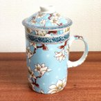 (茶漉し付マグカップ[木蓮])茶漉しと蓋付きで気軽にティータイム(中国茶器 フタ付 大きい 茶こし付きマグカップ 和 台湾 アジアン雑貨 お土産