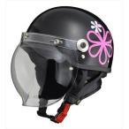 CR760 シールド付き ハーフ BKフラワー | ハーフヘルメット イヤーカバー ワンタッチバックル ヘルメット バイク バイク用品 花柄 フラワー