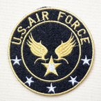 ミリタリーワッペン U.S.Air Force エアフォース アメリカ空軍(ブラック/ラウンド) (S)  名前 作り方 LFW-015