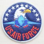 ミリタリーワッペン U.S.Air Force エアフォース アメリカ空軍(ワシ&戦闘機/ラウンド/L)