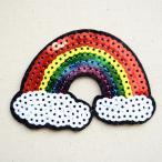 スパンコールワッペン レインボー&2クラウド(虹と雲) 名前 作り方 MTW-169