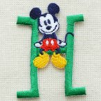 アルファベットワッペン ディズニー ミッキーマウス(H/グリーン) MY4001-MY308