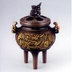 香炉 香立て【 瑞龍香炉 茶金色 】亜鉛合金製 桐箱入【高岡銅器 置物】