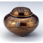 Yahoo!和楽雑貨香炉 香立て| 平型 フクロウ象嵌(ぞうがん) |銅製 桐箱入【高岡銅器 置物】d55-08