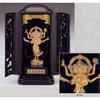|三宝荒神像|台所の神様 錫製 純金メッキ仕上 塗台厨子付 化粧箱入 【高岡銅器 仏像】