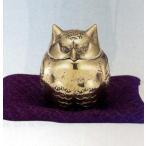 香炉 |香立て|ミニ香炉 福籠(ふくろう) ミガキ|瑞峰作 青銅(ブロンズ)製 ふくさ付 紙箱入|高岡銅器 置物|