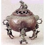 香炉 |香立て|香炉 玉型(三獅子)|須賀月芳作 蝋型青銅(ブロンズ)製 桐箱入り|高岡銅器 置物|