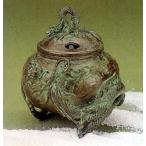 香炉  香立て 香炉 玉型(双龍) 大森孝志作 蝋型青銅(ブロンズ)製 桐箱入り 高岡銅器 置物 