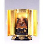 ショッピング仏像 仏像■ 弘法大師座像 彩色 厨子入り■合金製 【高岡銅器】
