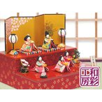 雛人形 ひな人形「彩り友禅雛 五人揃い 二段飾り」rh243s コンパクト お雛様 収納 リュウコドウ ひな祭り 段飾り