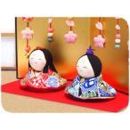 雛人形 ひな人形「ちりめん細工 桜花屏風付 にっこり福雛」rh306 コンパクト/リュウコドウ