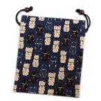 平巾着 和柄 木玉付 小物入れ 福あつめ招き猫 濃紺 和小物