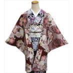 長羽織 HL (アッシュエル) 冬用 洗える エンジ ひった地 八重桜蝶 フリー