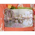 帯締め 帯〆 パール 花結び 先割れ 2色使い 正絹 薄ピンク色金 振袖 成人式 着物