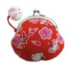 財布 小銭入れ がま口 和柄 桜楓うさぎ 赤 和小物